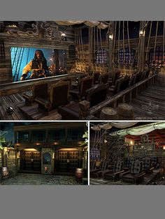 Home theaters ideas this is awesome.not sure I would want it but it was too cool not to pin Pirates of the Caribbean theme home theater room At Home Movie Theater, Home Theater Rooms, Home Theater Design, Cinema Room, Home Interior Design, Deco Pirate, Pirate Theme, Caribbean Homes, Home Movies