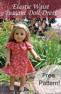 American Girl Dolls : Elastic Waist Doll Dress Pattern- a cute and simple 18 American Girl doll dress American Girl Outfits, American Doll Clothes, American Girls, American Dress, Sewing Doll Clothes, Baby Doll Clothes, Sewing Dolls, Barbie Clothes, Sewing Pants