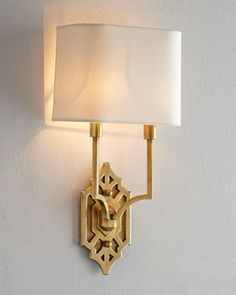 Visual Comfort Silhouette Fretwork Sconce from Horchow. Saved to Light a Candle. Sconce Lighting, Home Lighting, Lighting Design, Circa Lighting, Unique Lighting, Lighting Ideas, Chandeliers, Shield Design, Brass Sconce