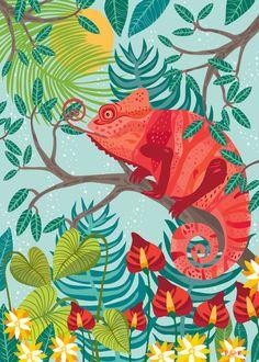 The Red Chameleon Art Print by Poppy & Red | Society6
