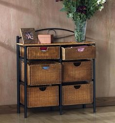 Wicker Storage Table Room Organizer Dresser Craft Basket Wine Chest Furniture for sale online Chest Furniture, Wicker Furniture, Bathroom Furniture, Kitchen Furniture, Furniture Storage, Wicker Bathroom Storage, Bathroom Ideas, Wicker Dresser, Wicker Mirror