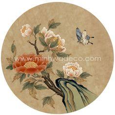 Korean Painting, Japanese Painting, Japanese Drawings, Japanese Art, Korean Art, Asian Art, Butterfly Art, Flower Art, Circle Art
