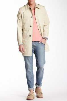 J Lindeberg Faxton Compact Weather Twill Coat in Beige tan