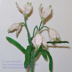 Snowdrops out of beads and wire