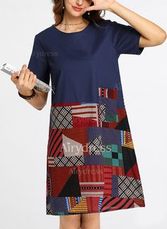 Dress - $19.04 - Geometric Short Sleeve Knee-Length Shift Dress (1955243528)