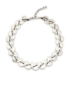 Uno De 50 Flat Beaded Collar Necklace Women's White
