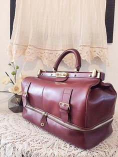 Doctor bag Retro style women briefcase Brown by PomponiBags