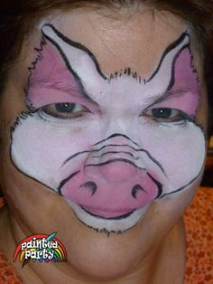 Lil' Pig Face Painting Design by Denise Cold of Painted Party Face Painting www.PaintedParty.com designed from photo of piglet to have larger ears and more realistic coloring. Uses Starblend White and Pink and in cake mixing to get more subtle pink tones.