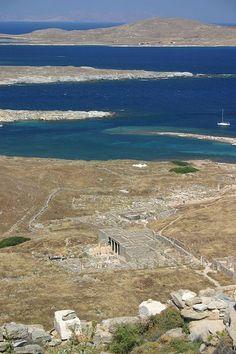 Azur Blue Water around Ancient Delos, Greece. I've hiked up that hill! Delos Greece, Mykonos Greece, Beautiful Islands, Beautiful Places, Greek Sea, Greece Islands, Travel Memories, Greece Travel, Ancient Greece
