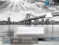 Fotomurales ciudad NY Nueva York puente de Manhattan bridge blanco y negro (Tapiz) (mural) (fotomural) Decoración de muros y superficies lisas. Vinilo 314 Guadalajara Mexico.   www.vinilo314.com
