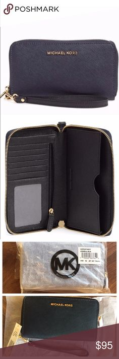 Michael Kors Large Jet Set Leather Phone Wristlet Easily stash your smartphone and other essentials in a sleek zip-around wallet cast in Saffiano leather and fitted with an optional wrist strap for on-the-go convenience. Fits most smartphones up to iPhone 6 and 6s. Zip-around closure. Interior zip, wall and smartphone pockets; six card slots. Navy/admiral Saffiano leather with black straps Authentic by MICHAEL Michael Kors. Michael Kors Bags