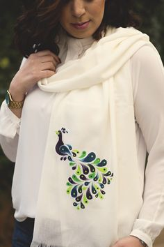 Hand painted shawl .. done by Jumana Salfiti.