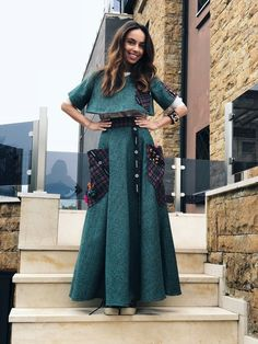 Fit sizes: Xs/S Design Zuzka Mak Made in Greece Handmade Wear with basic T shirt Wear with With Blouse Wear with Black Blouse Made from Wool Under is anot Long Green Skirt, Black Blouse, Formal, Skirts, How To Wear, Collection, Dresses, Design, Fashion