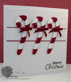 Christmas card ... Cut six canes, three white and three red, then layer ... great recipe for a festive card ...