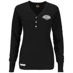 Harley-Davidson® Womens Monochrome Metallic V-Neck Henley Black Long Sleeve Thermal H5XP-H49L