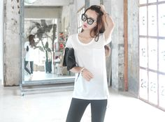 Loveliness of the female clothing shop. [Whitefox] Casio T / Size : S, M / Price : 17.54 USD Basic to enjoy basic child grows for a comfortable wear! #tops #basic #tshirt #simple #koreafashion #womanfashion #dailylook #chic #OOTD #WHITEFOX