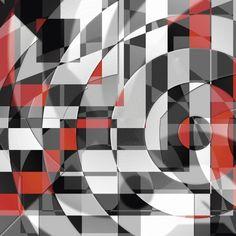 Christine Bässler: Schwarz weiß trifft rot Version 1 - Glasbild