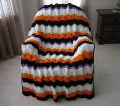 This Striped Halloween Crochet Afghan Pattern is perfect for those cold, autumn days! Use this to keep the kids warm between houses while trick-or-treating! Crochet Afghans, Baby Blanket Crochet, Free Crochet, Knit Crochet, Ravelry Crochet, Crochet Cushions, Baby Afghans, Crochet Blankets, Baby Blankets