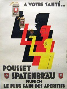Pousset Spatenbrau original beer poster by Jean Carlu from 1925 France.