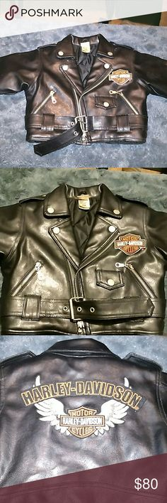 New kidHarley-Davidson Motor Cycles leather jacket Brand new kids Harley-Davidson Motor Cycles leather jacket. So cute but the baby was to big for it so it never got wore?? Harley-Davidson Jackets & Coats