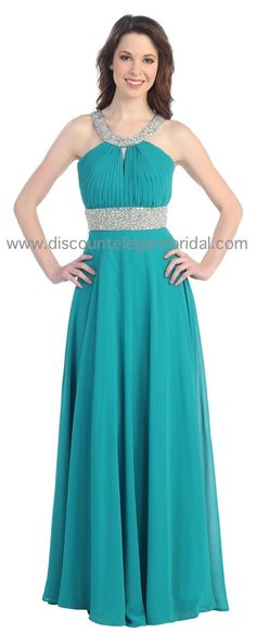 Cindy Collection Dress 1313 in sea green, royal and ivory size XS-3XL
