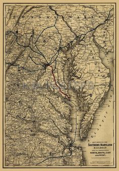 Map showing the Southern Maryland Railroad