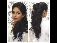 Wedding Reception Hairstyles For Curly Hair Indian Party Hairstyles, Pakistani Bridal Hairstyles, Bride Hairstyles, Hairstyle Ideas, Easy Hairstyles, Wedding Reception Hairstyles, Hairstyles For Medium Length Hair Tutorial, Medium Hair Styles, Curly Hair Styles