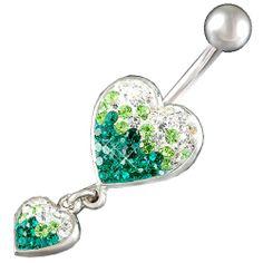 "Amazon.com: 14Gauge (1.6mm), 3/8"" Inch (10mm) long - Emerald Heart Swarovski Crystal Ferido Jeweled dangle belly dangling navel button ring dangly bar AFDQ - Pierced Body Piercing Jewelry: Jewelry"