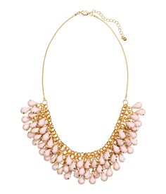 Short gold necklace with tiny pink teardrop pendants. | H&M Pastels