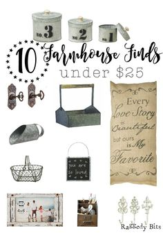 I LOVE a bargain! Especially when it comes to home decor. Sharing a collection of 10 Farmhouse Finds under $25 that I have found | www.raggedy-bits.com