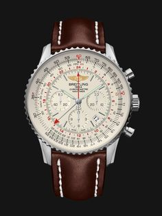 The Navitimer GMT features a steel case with an imposing 48 mm diameter. It is also available in a red-gold limited series.