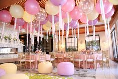 Fancy That! Events, Pretty Pastel 1st Birthday, Hotel Bel Air, Balloon treatment, La Tavola Linens, Bean Bags, 1st birthday details, Soft tones, 3 ft balloons, Tassel treatment, Fancy Baby