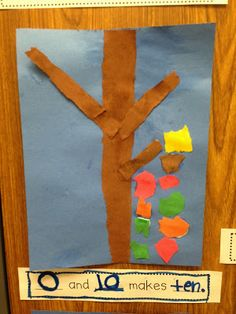 Chalk Talk: A Kindergarten Blog; fall bulletin board with math