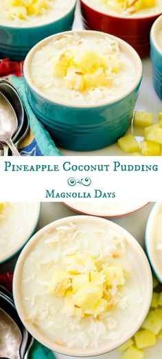 Pineapple Coconut Pudding is a creamy and cool dessert with tropical flavors. It's easy to make with only a few ingredients. It's gluten-free and dairy-free. #SundaySupper