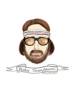 Richie Tenenbaum watercolour portrait by ohgoshCindy