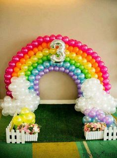 Rainbow balloon arch at a My Little Pony birthday party! See more party planning ideas at CatchMyPar My Little Pony Birthday Party, Trolls Birthday Party, Rainbow Birthday Party, Unicorn Birthday Parties, Birthday Ideas, 3rd Birthday, Unicorn Party Decor, Balloon Birthday, Rainbow Theme