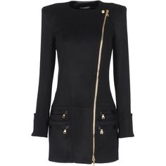 BALMAIN Coat (70.689.825 IDR) ❤ liked on Polyvore featuring outerwear, coats, jackets, dresses, coats & jackets, fur-lined coats, long sleeve coat, balmain coat, zip coat and balmain