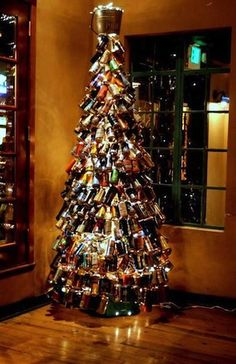 Percy Street Barbecue's beer can Christmas tree--celebrating Philly as the place in America for craft beer in cans! Beer Can Christmas Tree, Christmas Holidays, Christmas Crafts, Merry Christmas, Christmas Ideas, Christmas Things, Christmas Images, Happy Holidays, Beer Crafts