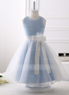 f1bf9ee007 A-Line Princess Knee-length Flower Girl Dress - Organza Sleeveless Scoop  Neck With Beading Flower(s) Bow(s) - Flower Girl Dresses - JJsHouse