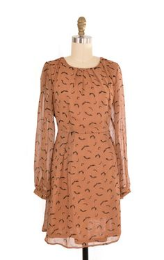 Sugarhill Brown Bat Print Dress Size XXL | ClosetDash #fashion #style #dresses #print #bats #brown #longsleeves