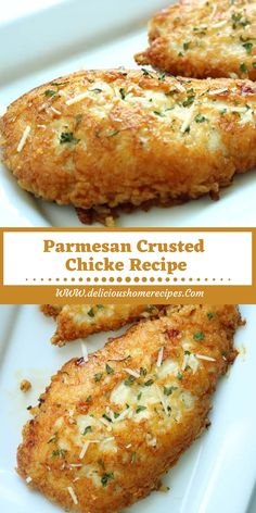 Parmesan Crusted Chicke Recipe This Parmesan Crusted Chicken is an easy meal idea. We use pounded thin chicken breasts, coat in a delicious Parmesan coating, and then fri. Healthy Recipes, Meat Recipes, Cooking Recipes, Shrimp Recipes, Vegetarian Recipes, Lasagna Recipes, Cod Recipes, Cabbage Recipes, Oven Recipes