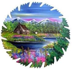 Hand Painted Saw Blade ART Mountain Spring Log Cabin and Fence. ebay $22