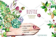 Rustic watercolor collection by Kate_Rina on @creativemarket
