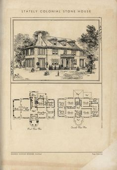 Stately Stone Colonial House by Architect Andrew Charles Borzner.    The book of beautiful homes. by Andrew C. Borzner Published 1932    BookReaderImages.php (1213×1755)