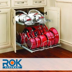 "Rev-A-Shelf 21"" Pullout 2 Tier Cookware Organizer for Sink Base Cabinet, Chrome"