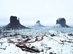 At the end of a four-week road trip, Your Shot member Tyler Lekki ran into some bad luck: a flat tire. He stayed the night in a local hotel in Monument Valley National Park in Utah, and his fortunes turned around when he was able to capture this sunrise shot of the park's towering sandstone buttes after a light coating of snow.