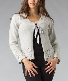 Take a look at this Gray Eyelet Scoop Neck Wool-Blend Cardigan by Pink Ocean on #zulily today!