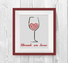 BUY 2, GET 1 FREE! Drunk on love Cross stitch pattern, Modern Wine cross stitch pattern, pdf counted cross stitch pattern, P229 by NataliNeedlework on Etsy