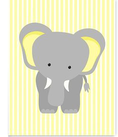Elephant Nursery Art Zoo Baby Room Decor by SweetPeaNurseryArt