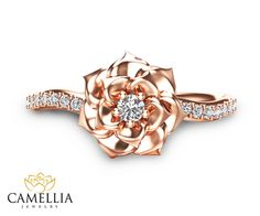 Camellia Flower Ring Rose Gold Diamond Ring Rose Gold Engagement Ring Diamond Ring - Women's Here Ring Rosegold, Rose Gold Diamond Ring, Rose Gold Jewelry, Emerald Diamond, Jewelry Rings, Emerald Cut, Sapphire Rings, Ruby Rings, Quartz Jewelry